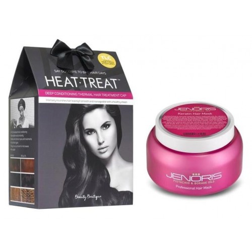 Jenoris Keratin Mask 500ml + HEAT-TREAT CAP, 20% off when you buy both together